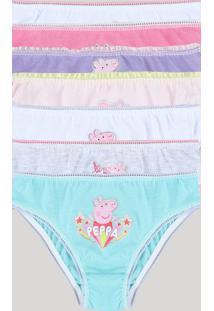 Kit De 7 Calcinhas Infantis Peppa Pig Multicor