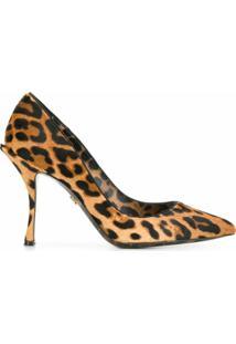 Dolce & Gabbana Sapato Com Animal Print - Marrom