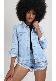 """Jaqueta Jeans Feminina """"Freedom"""" Com Recorte E Bolsos Azul Claro"""