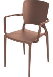 Cadeira Com Braco Sofia Encosto Fechado Cor Marrom - 27724 - Sun House