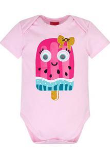 Body Bebê Kyly Cotton Sorvete Feminino - Feminino-Rosa