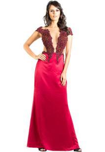 4f48944c82 Vestido Pedraria Vinho M. Rodarte 38 - Vestido De Festa Longo Recorte  Vazado Lateral M