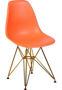 Cadeira Eames Eiffel Com Base Metal Laranja