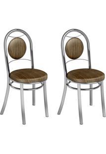 Conjunto 2 Cadeiras Ca-945 Cromada Mad.Marrom Assento Alto