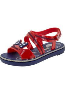 Sandália Infantil Feminina Minnie Charm Grendene Kids - 22107 Azul/Vermelho 28