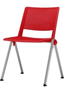 Cadeira Up Assento Vermelho Base Fixa Cinza - 54340 Sun House