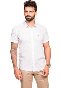 Camisa Manga Curta Tony Menswear Slim De Algodão Branco