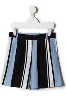 Dolce & Gabbana Kids Short Listrado - Azul
