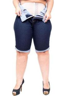 Bermuda Jeans Xtra Charmy Plus Size Ciclista Lidian Feminina - Feminino-Azul