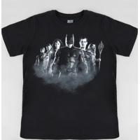 0587444ff Camiseta Infantil Liga Da Justiça Manga Curta Gola Careca Preta