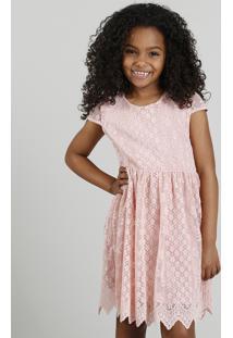 Vestido Infantil Em Renda Com Vazado Rosa