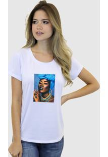 Camiseta Baby Look Feminina Basica Suffix Branca Estampa Tecido Sobreposto Negra Colar Strass Gola Redonda - Kanui