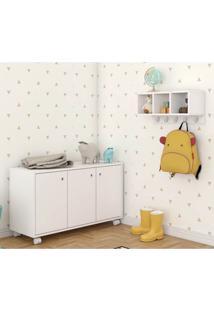 Conjunto Para Quarto Infantil Bki 09 Com Balcão 3 Portas E Cabideiro