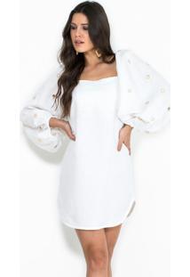Vestido De Linho Bordado Off White