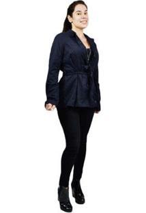 Casaco Trench Coat Feminino Clássico - Feminino-Preto
