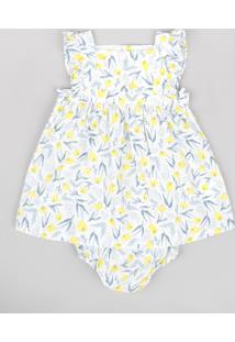 Vestido Infantil Estampado Floral Com Babado Sem Manga + Calcinha Branco