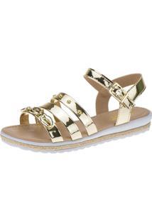 Sandália Anabela Slim Infantil Menina Fashion Concha Strass 69.01.033 - Dourado