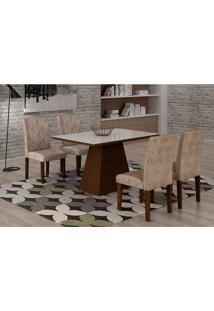 Conjunto De Mesa De Jantar Luna Com 4 Cadeiras Ane Ii Suede Animalle Castor, Branco E Chocolate