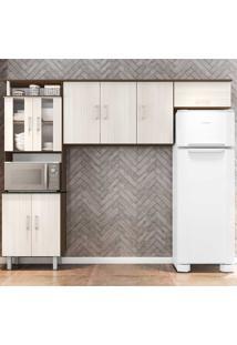 Cozinha Compacta 3 Peças Com Vidro Suíça - Poliman - Amendoa / Arena