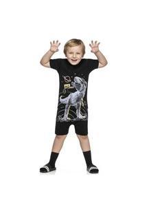 Pijama Curto Infantil Tiranossauro Rex Brilha No Escuro-10