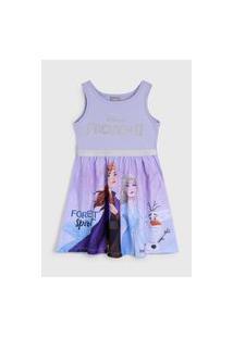 Vestido Fakini Infantil Frozen Lilás