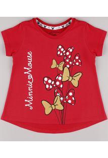 Blusa Infantil Minnie Lacinhos Manga Curta Vermelha
