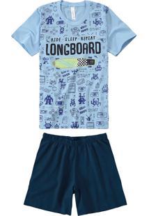 Pijama Curto Longboard Menino Malwee Liberta Azul Claro - 1