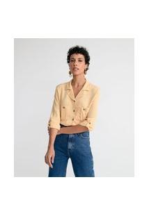 Camisa Manga 3/4 Lisa Com Bolsos E Botões   Marfinno   Amarelo   Gg