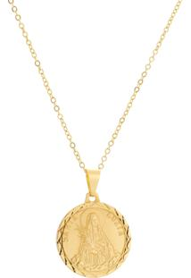Gargantilha Santa Luzia Tudo Jóias Folheada A Ouro 18K Dourada