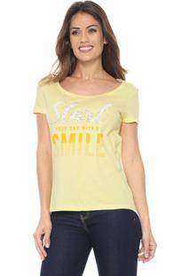Camiseta Malwee Lettering Amarela