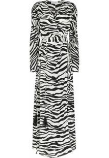 The Attico Vestido Longo Com Estampa De Zebra - Branco