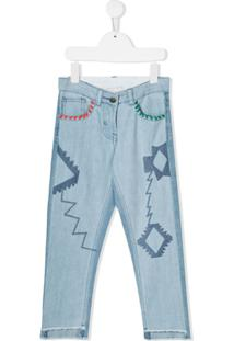 Stella Mccartney Kids Calça Jeans Com Bordado - Azul