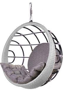 Poltrona De Balanco Bowl Em Aluminio Revestido Em Corda Cor Prata - 45204 - Sun House