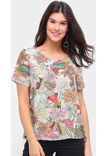Camiseta Colcci Estampada Feminina - Feminino-Bege