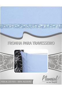 Fronha-Percal 233 Fios-Azul Com Sianinha Azul-50X150