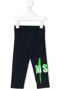 Msgm Kids Calça Esportiva Com Estampa De Logo - Azul
