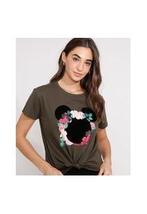 Camiseta Cropped De Algodão Minnie Flocada Com Nó Manga Curta Decote Redondo Verde Militar
