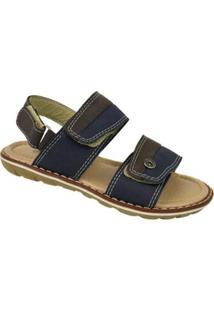Sandália Infantil Velcros Cazzac Masculina - Masculino-Azul