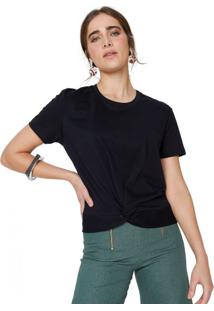 Amaro Feminino T-Shirt Malha Nó Frente, Preto