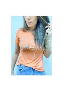 Camiseta Pedraria Bonjour - Laranja