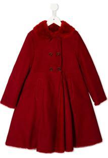 Dolce & Gabbana Kids Casaco Abotoamento Duplo Com Pregas - Vermelho