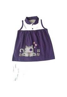 Vestido Para Bebê Happy Baby Roxo De Bolinhas Gatinha Estampada 100 % Algodão