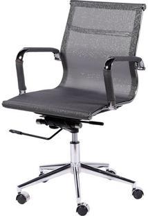 Cadeira Office Eames Em Tela- Cinza Escuro & Prateada