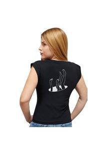 """Camiseta Casual 100% Algodão Estampa """"Buraco Negro"""""""" Avalon Cf01 Preta"""""""