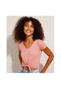 Camiseta Cropped Canelada Com Nó Manga Curta Decote V Rosa