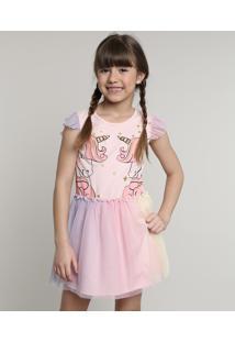 Vestido Infantil Carnaval Unicórnio Com Tule Sem Manga Rosa Claro