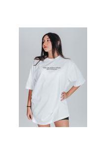 Camiseta Feminina Oversized Boutique Judith Onde Nao Puderes Fofocar Branco