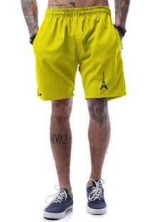 Bermuda Tactel Cellos Eifel Tower Premium Masculina - Masculino-Amarelo Escuro