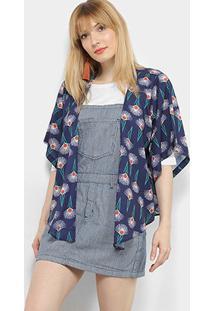 Kimono Mercatto Estampado Feminino - Feminino-Azul Escuro