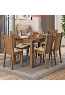 Conjunto Sala De Jantar Madesa Maris Mesa Tampo De Madeira Com 6 Cadeiras Marrom - Tricae